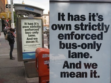 Bad punctuation -- bus lane