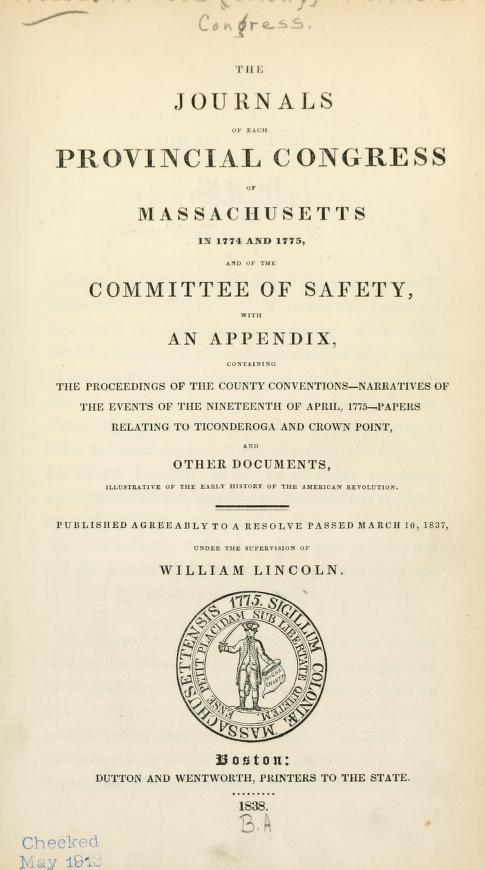 Committees of Correspondence Proceedings